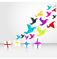 origami birds start to fly from a box vector image