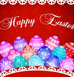 postcard at Easter eggs and ornament vector image vector image