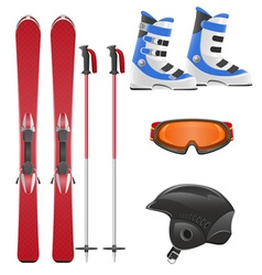 ski equipment icon set vector image