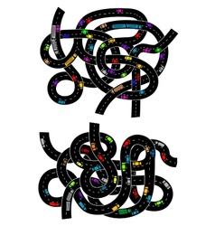Spaghetti junction road traffic pattern vector image