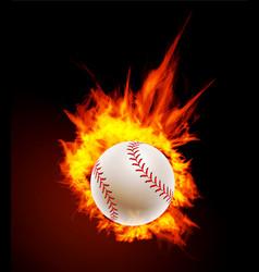 baseball ball on fire background vector image