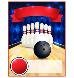 Bowling alley blank template flyer vector