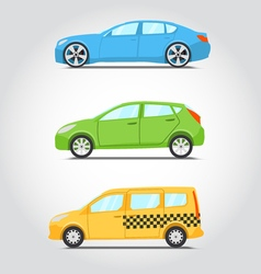 Cars icon series Flat colors style Sedan or vector image
