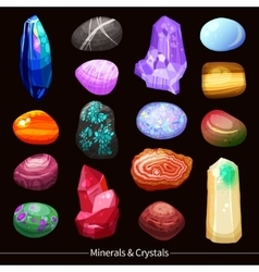 Crystals Stones And Rocks Set Background vector image vector image