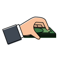 Hand human with bill money isolated icon vector