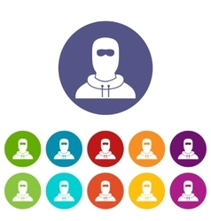 Man in balaclava set icons vector image