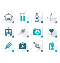 stylized medicine and healthcare icons vector image vector image