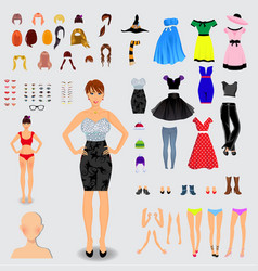 big set for creation unique lady character vector image