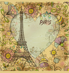 eiffel tower paris postcard vector image