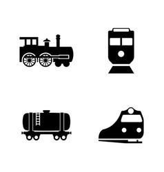 rail transport simple related icons vector image