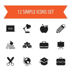 set of 12 editable school icons includes symbols vector image vector image