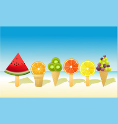 summer fruit ice-creams vector image