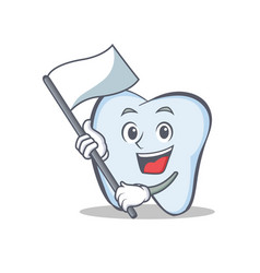 Tooth character cartoon style with flag vector