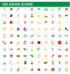 100 asian icons set cartoon style vector