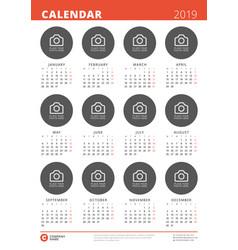 2019 year calendar poster design print template vector image