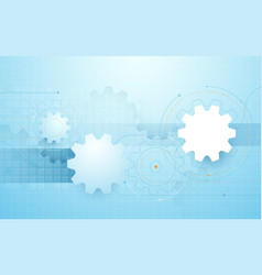 abstract gear wheel geometric in blue background vector image