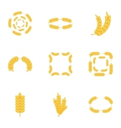Agricultural symbols icons set cartoon style vector image