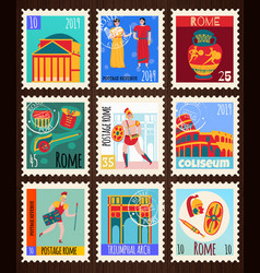 Ancient rome postmarks set vector