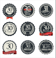 Anniversary retro badge collection 30 years vector