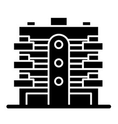 Apartment building solid icon multistory house vector