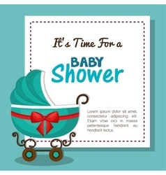 baby shower invitation card with carriage blue vector image vector image
