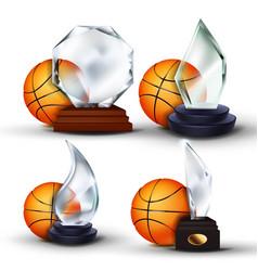 basketball game award set ball glass vector image