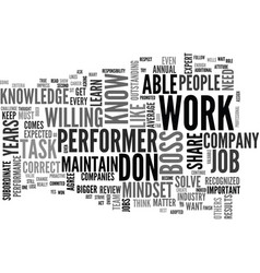 Be a performer in you job text word cloud concept vector