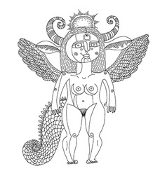 black and white of mystic creature nude wom vector image