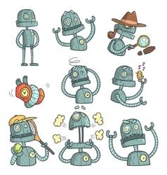Blue Robot Set Of Cartoon Outlines Portraits vector