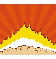 Boom Comic book explosion background with sun vector image