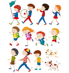 Boys and girls in many actions vector