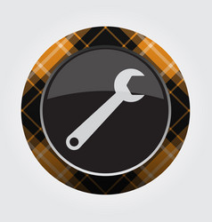 Button with orange black tartan - spanner icon vector