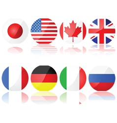 buttons with g8 countries vector image