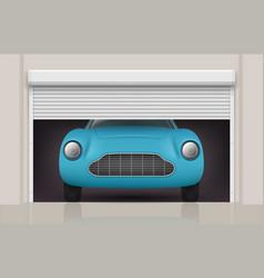 car in garage roller doors at parking gates front vector image
