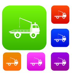 Car towing truck set collection vector