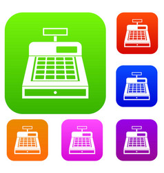 Cash register set collection vector