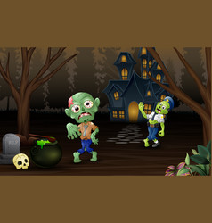 Celebration two zombie outdoors with haunted house vector