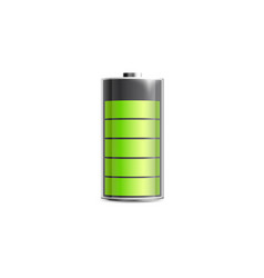 Charged battery icon with energy level realistic vector