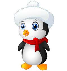 christmas penguin with santa hat and scarf vector image