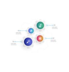 cog gears wheels vertical infographics 4 steps vector image