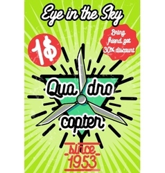 Color vintage Quadrocopter poster vector image