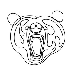 continuous line fury bear head snarling bear vector image
