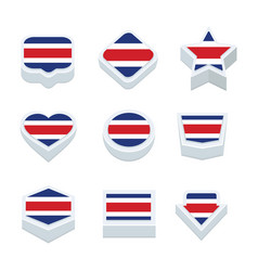 Costa rica flags icons and button set nine styles vector