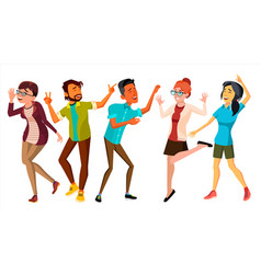 dancing people set smiling and have fun vector image