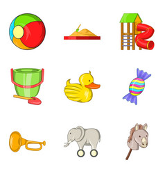Delightful toy icons set cartoon style vector
