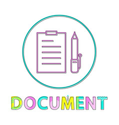 document with pen set icon vector image