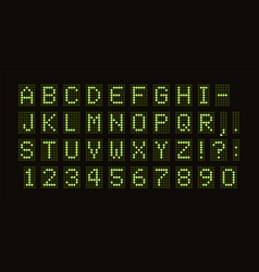 Dotted font for digital led table green vector