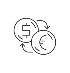 exchange of dollars for euros line icon concept vector image