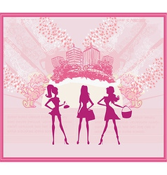 fashion girls Shopping background vector image