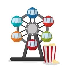 Ferris wheel and pop corn of carnival design vector